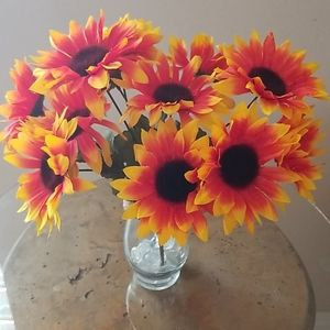 Vase Of Strawberry Blonde Sunflowers